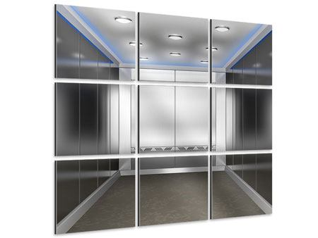 Aluminiumbild 9-teilig Eleganter Aufzug