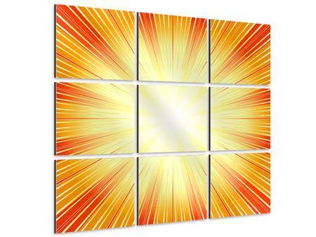 Aluminiumbild 9-teilig Abstrakte Retro Sonne