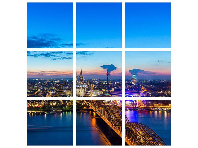 Aluminiumbild 9-teilig Skyline Ein Penthouse in Köln