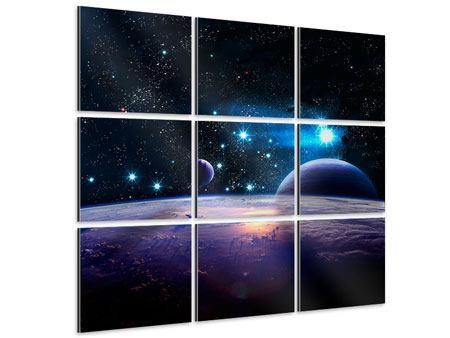 Aluminiumbild 9-teilig Das All