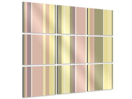 Aluminiumbild 9-teilig Längstreifen