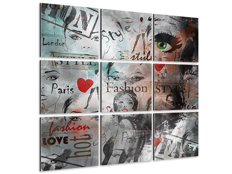 Aluminiumbild 9-teilig I Love Paris