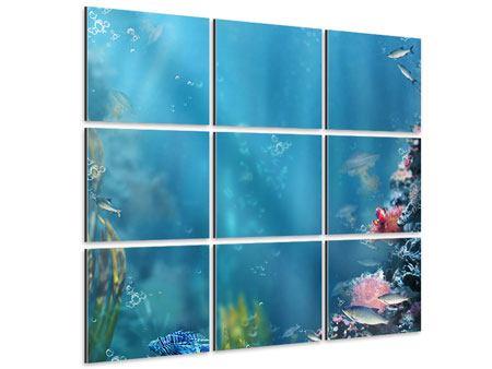 Aluminiumbild 9-teilig Unter Wasser
