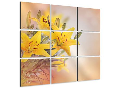 Aluminiumbild 9-teilig Gelbes Lilientrio