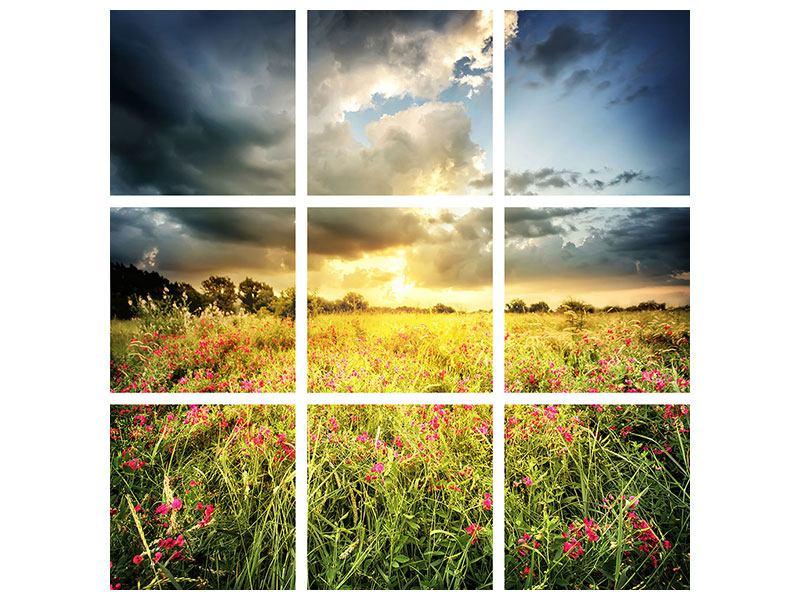 Aluminiumbild 9-teilig Die Blumenlandschaft