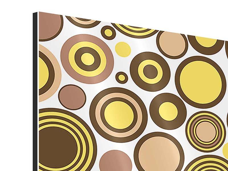 Aluminiumbild 9-teilig Kreise im Retrodesign