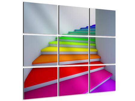 Aluminiumbild 9-teilig Bunte Treppe