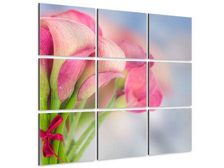 Aluminiumbild 9-teilig Der Lilienstrauss