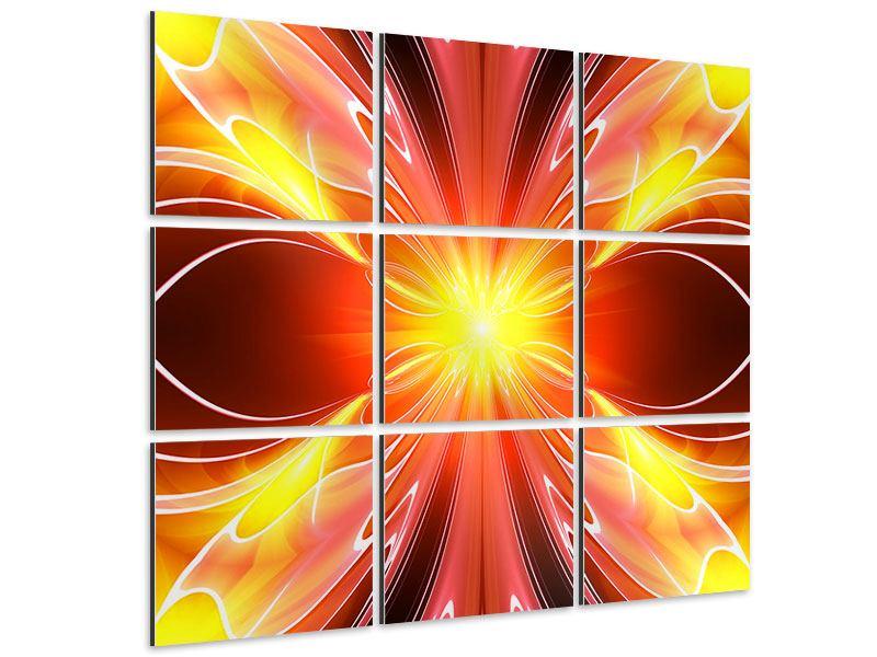 Aluminiumbild 9-teilig Abstraktes Farbenspektakel