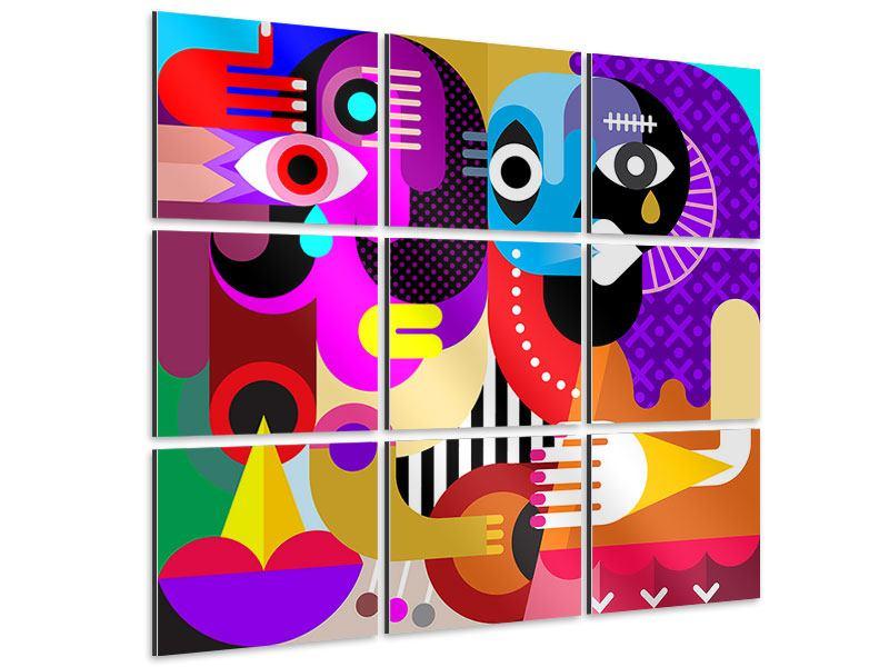 Aluminiumbild 9-teilig Moderne Kunst People