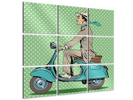 Aluminiumbild 9-teilig Pop Art Vespafahrer