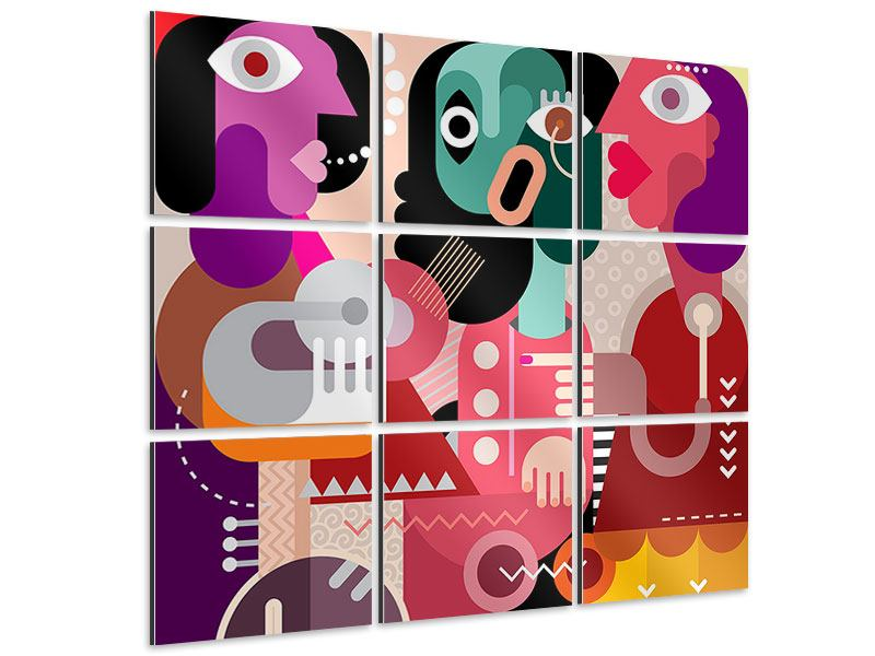 Aluminiumbild 9-teilig Moderne Kunst Frauen