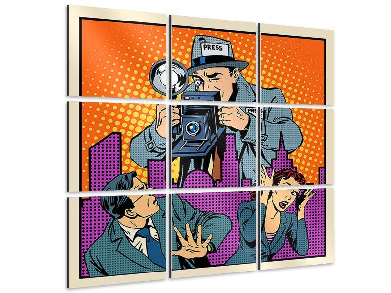 Aluminiumbild 9-teilig Pop Art Paparazzi