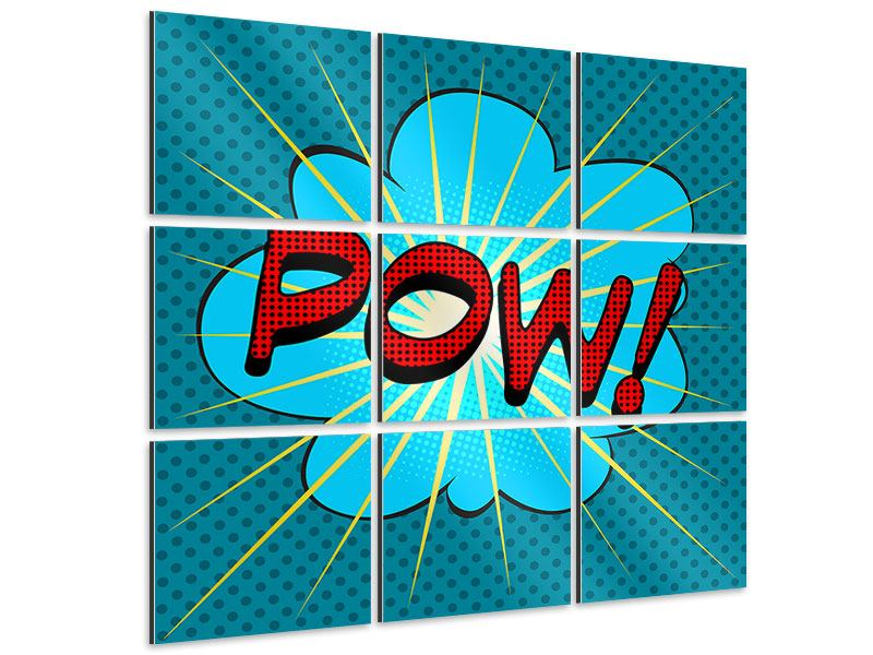 Aluminiumbild 9-teilig Pop Art Pow