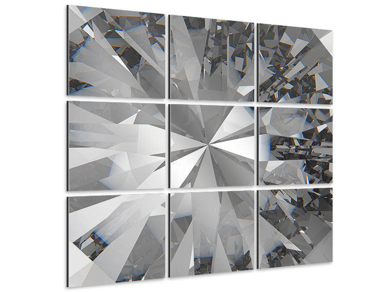 Aluminiumbild 9-teilig Riesendiamant