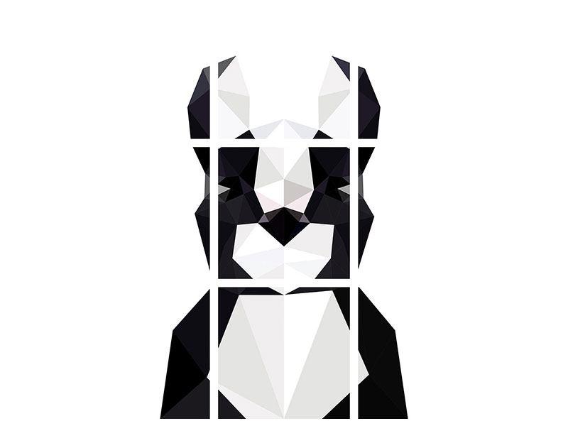 Aluminiumbild 9-teilig Origami Bulldogge