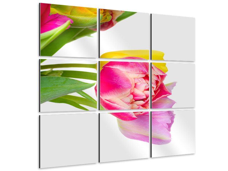Aluminiumbild 9-teilig Ein bunter Tulpenstrauss