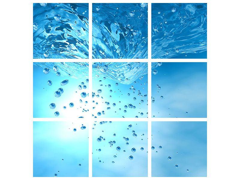 Aluminiumbild 9-teilig Wasserblasen