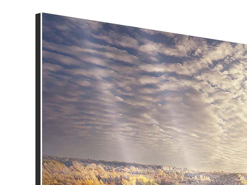 Aluminiumbild 9-teilig Sonnenaufgang am Fluss
