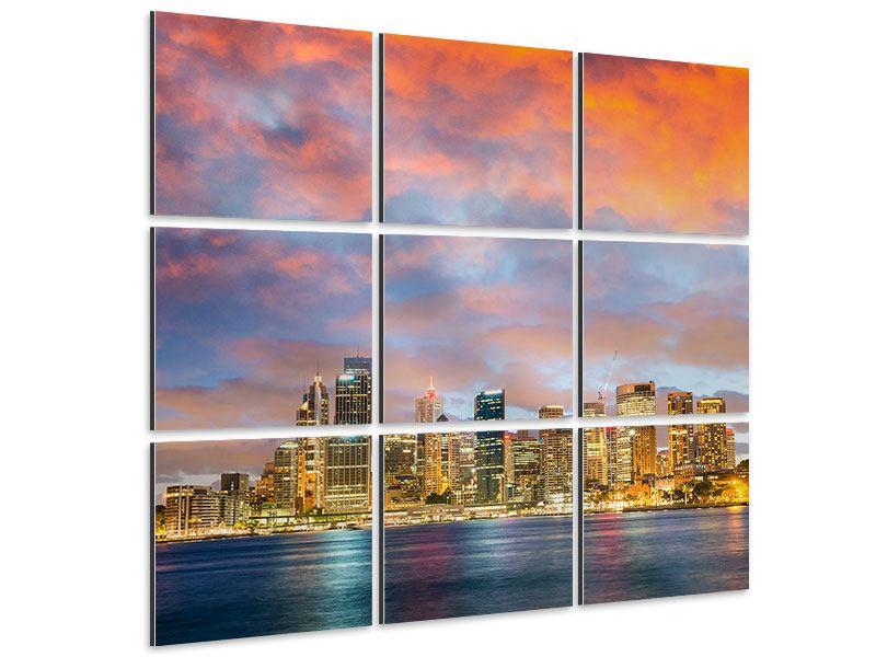 Aluminiumbild 9-teilig Skyline Das Lichtermeer von Sydney