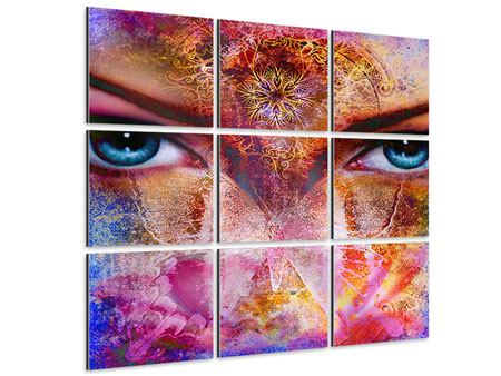 Aluminiumbild 9-teilig Psychedelic Face