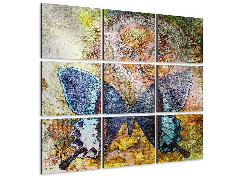 Aluminiumbild 9-teilig Ornament-Schmetterling