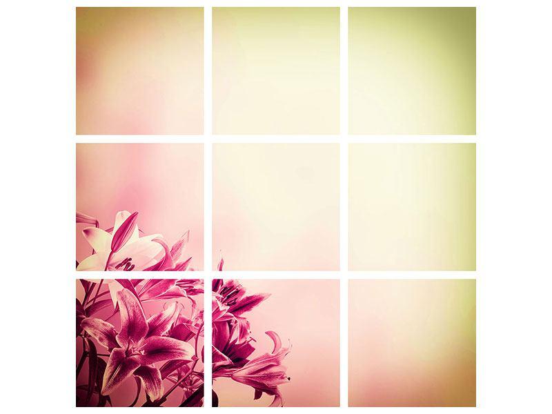 Aluminiumbild 9-teilig Colored Lilien