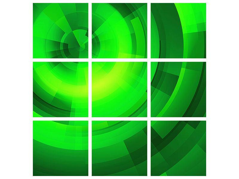 Aluminiumbild 9-teilig Perspektiven in Grün