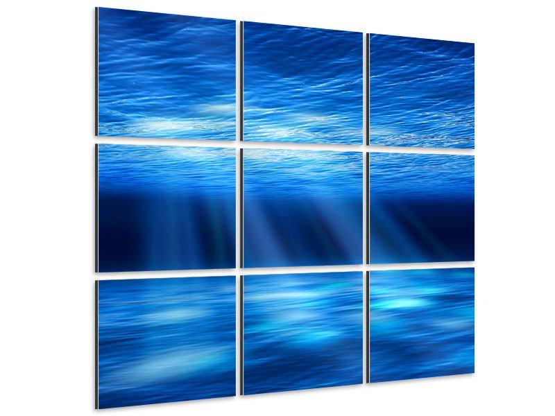 Aluminiumbild 9-teilig Licht unter Wasser