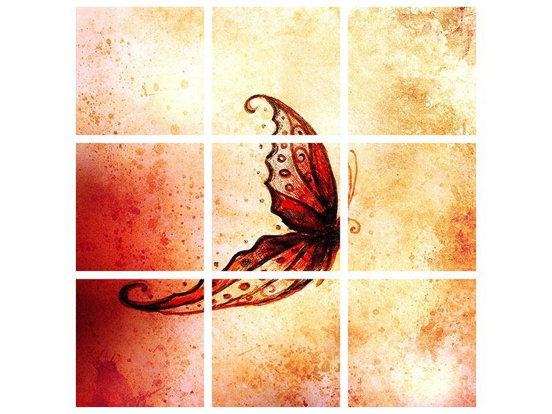Aluminiumbild 9-teilig Butterfly Gemälde