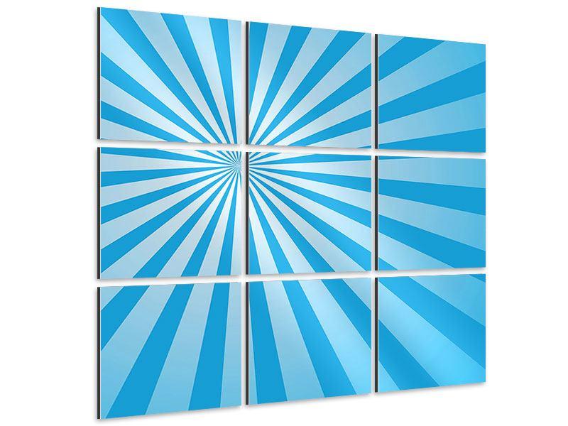 Aluminiumbild 9-teilig Retrowelle Streifenperspektive