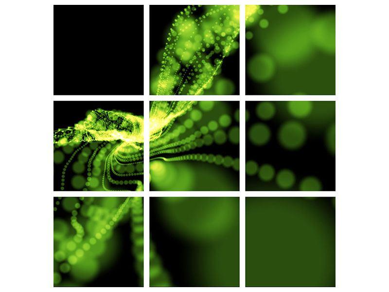 Aluminiumbild 9-teilig Grünes Lichterspiel