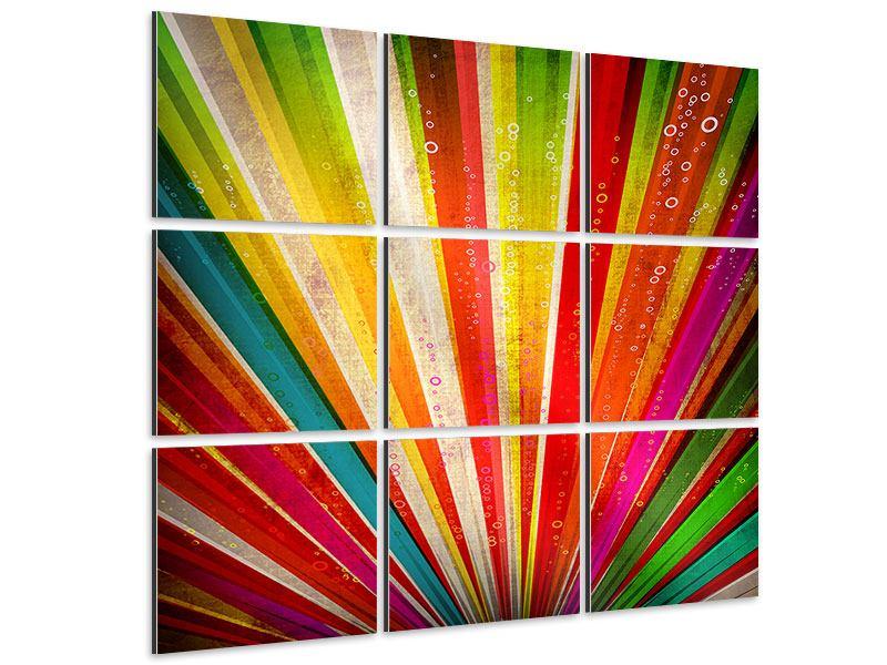 Aluminiumbild 9-teilig Abstrakte Farbstrahlen