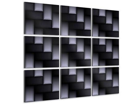Aluminiumbild 9-teilig 3D-Treppen