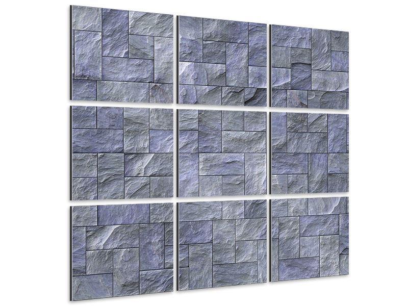 Aluminiumbild 9-teilig Schiefer