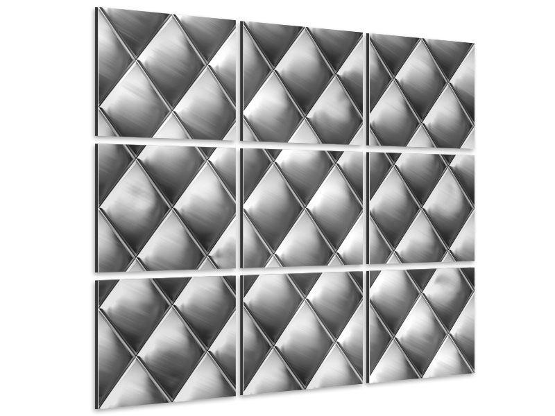 Aluminiumbild 9-teilig 3D-Rauten Silbergrau