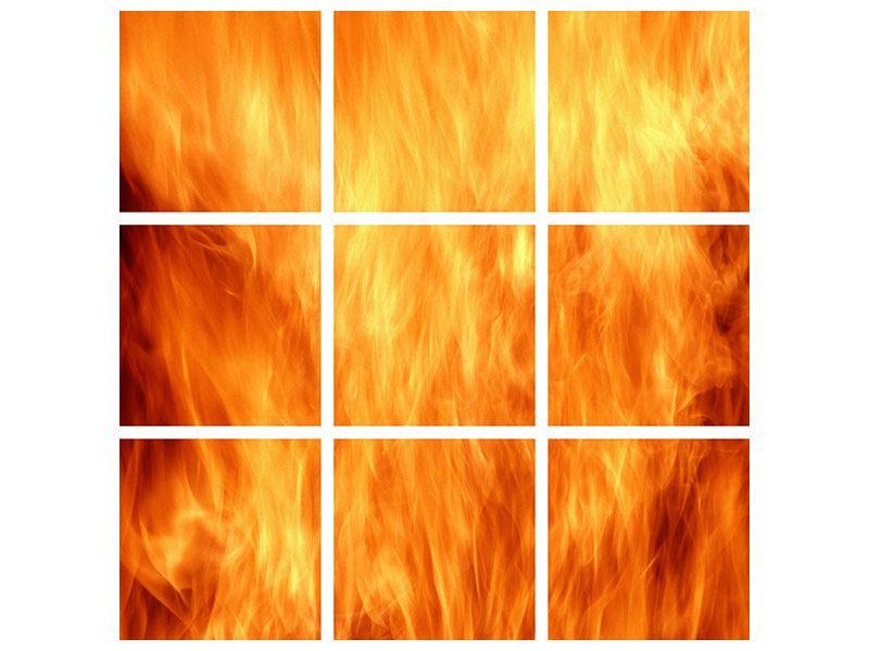 Aluminiumbild 9-teilig Flammen