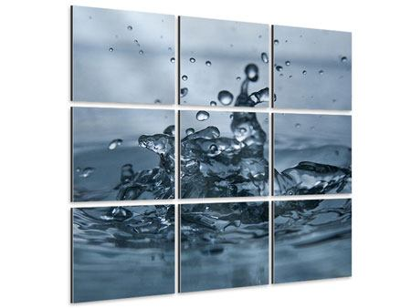 Aluminiumbild 9-teilig Wassertropfen