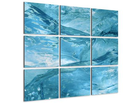 Aluminiumbild 9-teilig Cooler Eislook