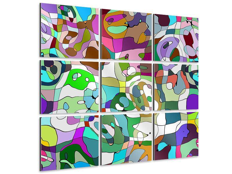 Aluminiumbild 9-teilig Kubistisches Gemälde