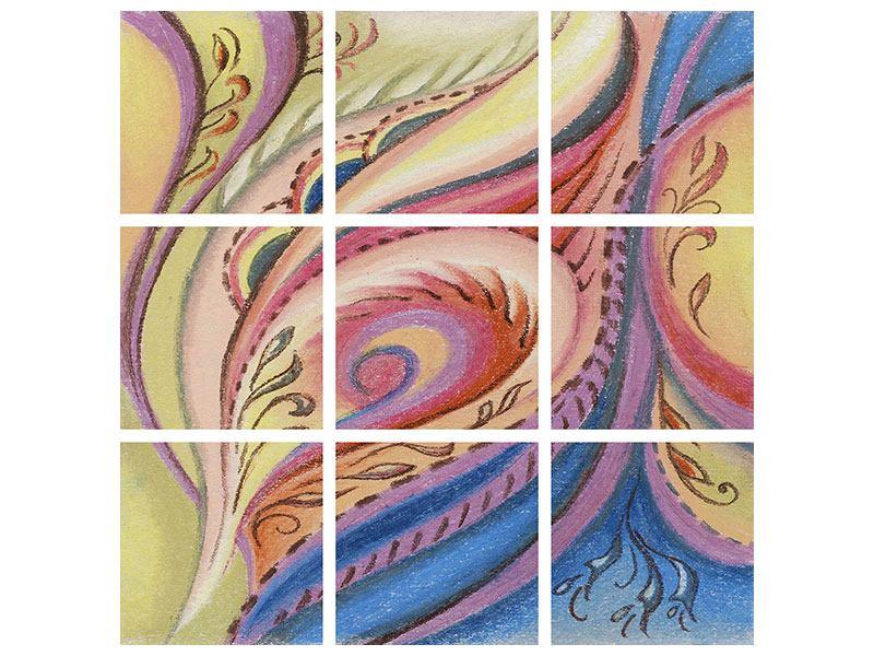 Aluminiumbild 9-teilig Paisley-Malerei