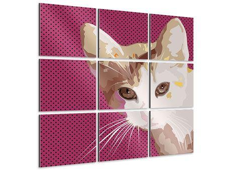 Aluminiumbild 9-teilig Pop Art Katze