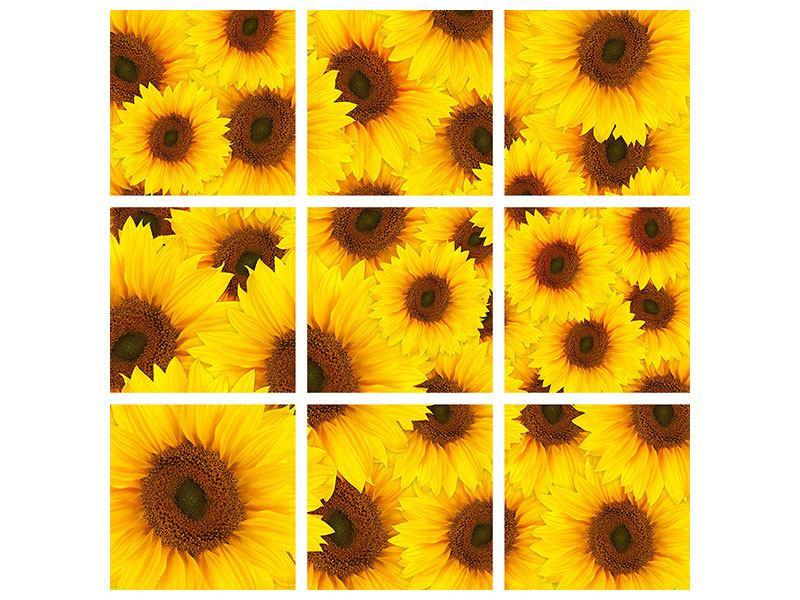 Aluminiumbild 9-teilig Ein Strauss Sonnenblumen