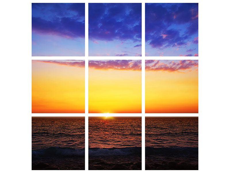 Aluminiumbild 9-teilig Leuchtender Sonnenuntergang