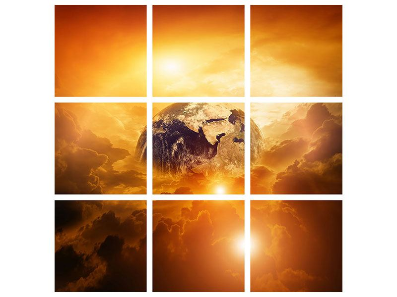 Aluminiumbild 9-teilig Mystischer Planet Erde