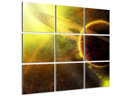 Aluminiumbild 9-teilig Sterne