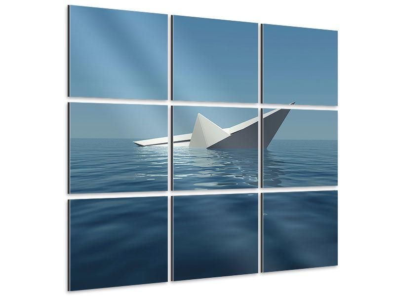Aluminiumbild 9-teilig Papierschiffchen