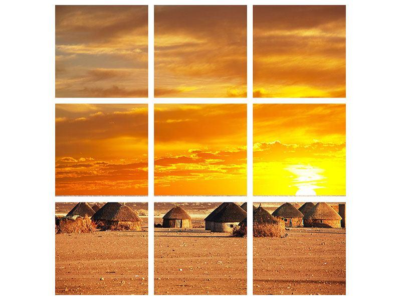Aluminiumbild 9-teilig Afrikanisches Dorf