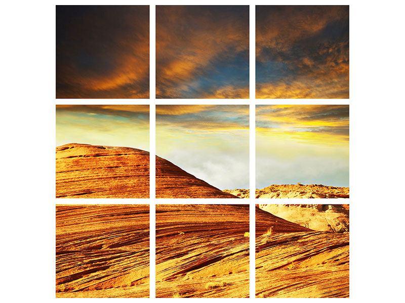 Aluminiumbild 9-teilig Die Wüste