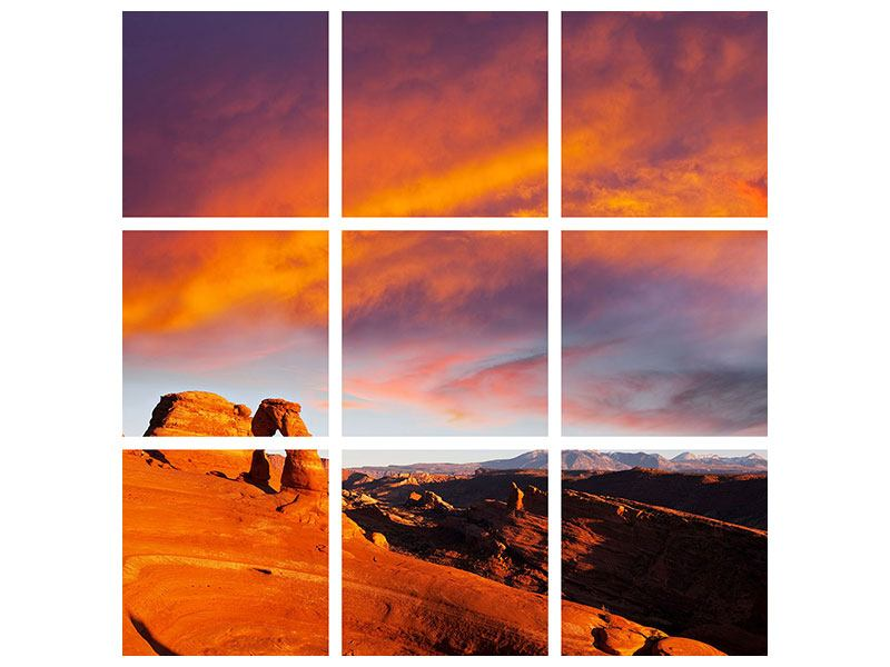 Aluminiumbild 9-teilig Sonnenuntergang im Canon